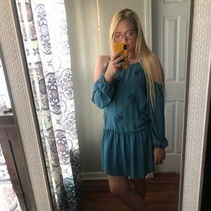 Blue open shoulder embroidered flower dress